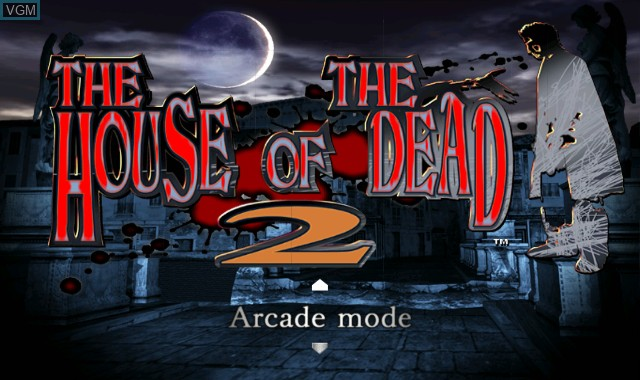 Menu screen of the game House of the Dead 2 & 3 Return, The on Nintendo Wii