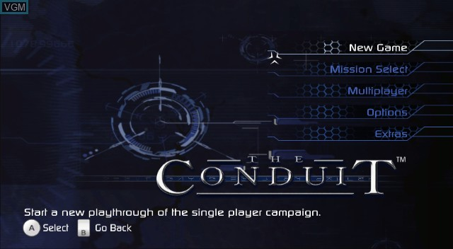 Menu screen of the game Conduit, The on Nintendo Wii