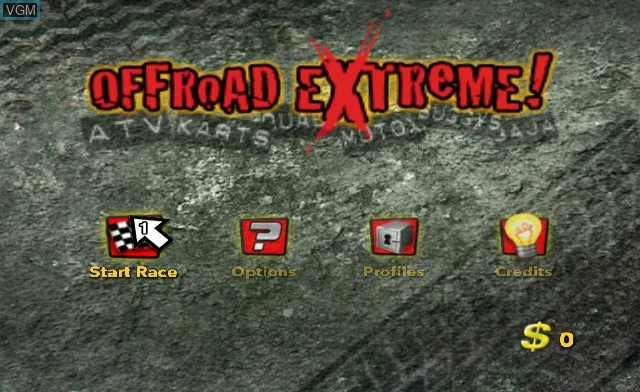 Menu screen of the game Offroad Extreme! on Nintendo Wii