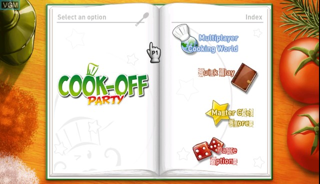 Menu screen of the game Cook-off Party on Nintendo Wii