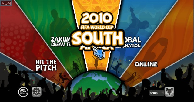 Menu screen of the game 2010 FIFA World Cup South Africa on Nintendo Wii