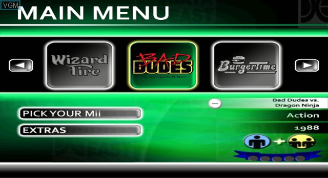 Menu screen of the game Data East Arcade Classics on Nintendo Wii