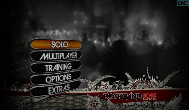 Menu screen of the game AC/DC Live - Rock Band Song Pack on Nintendo Wii