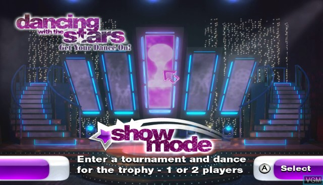 Menu screen of the game Dancing with the Stars - We Dance! on Nintendo Wii