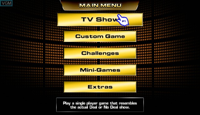 Menu screen of the game Deal or No Deal on Nintendo Wii