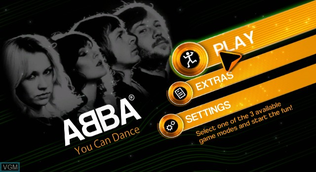 Menu screen of the game ABBA - You Can Dance on Nintendo Wii