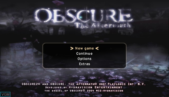 Menu screen of the game Obscure - The Aftermath on Nintendo Wii