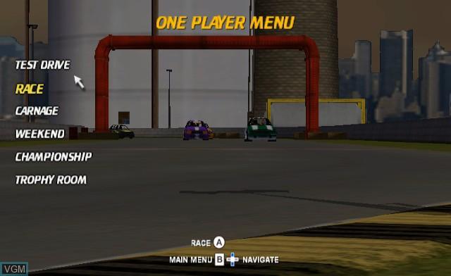 Menu screen of the game Maximum Racing - Crash Car Racer on Nintendo Wii