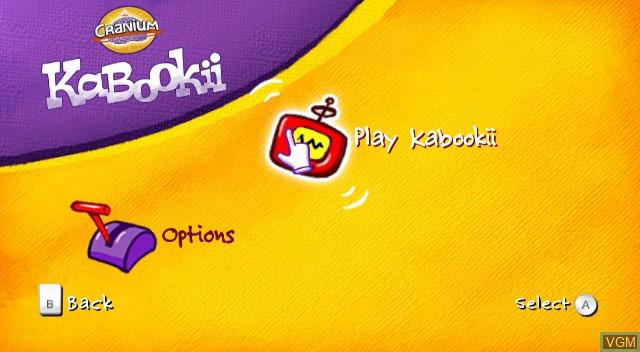 Menu screen of the game Cranium Kabookii on Nintendo Wii