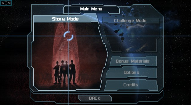 Menu screen of the game Dead Space - Extraction on Nintendo Wii