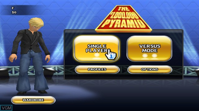 Menu screen of the game $1,000,000 Pyramid, The on Nintendo Wii