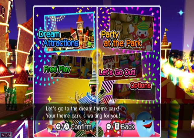 Menu screen of the game Active Life - Magical Carnival on Nintendo Wii