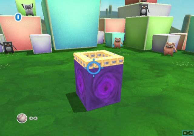 In-game screen of the game Boom Blox on Nintendo Wii