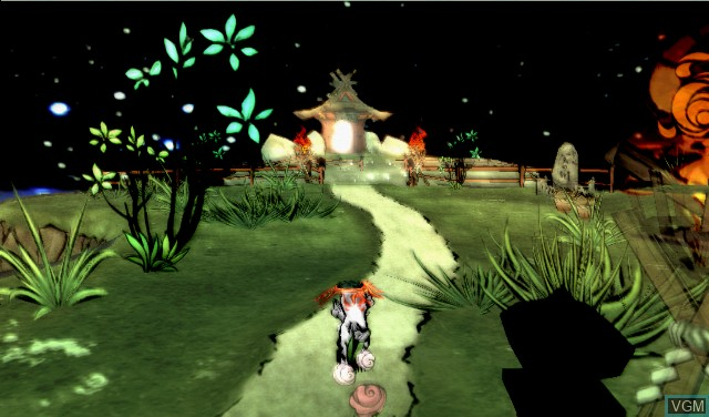 In-game screen of the game Okami on Nintendo Wii