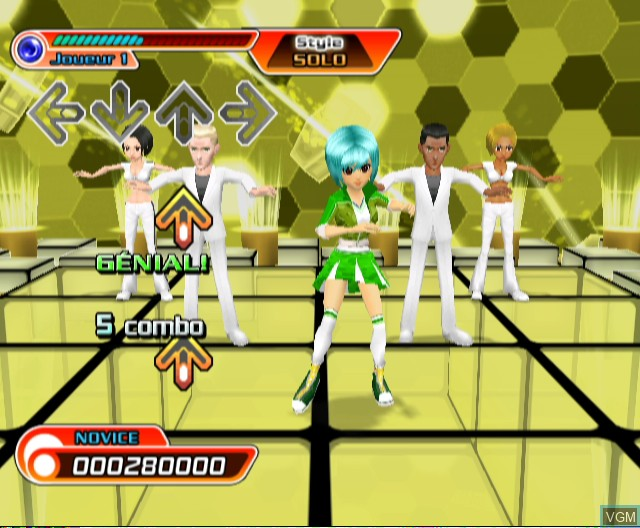 In-game screen of the game Dancing Stage - Hottest Party on Nintendo Wii