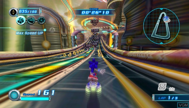 In-game screen of the game Sonic Riders - Zero Gravity on Nintendo Wii