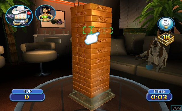 In-game screen of the game Jenga World Tour on Nintendo Wii