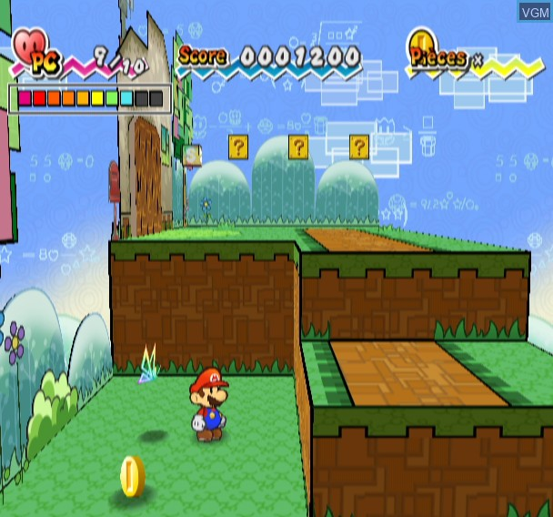In-game screen of the game Super Paper Mario on Nintendo Wii