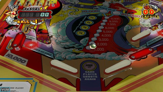 In-game screen of the game Gottlieb Pinball Classics on Nintendo Wii