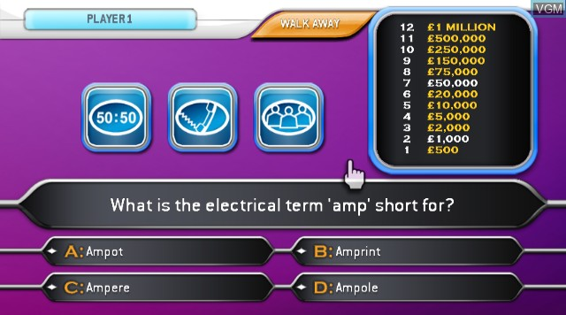 In-game screen of the game Who Wants to Be A Millionaire 2nd Edition on Nintendo Wii