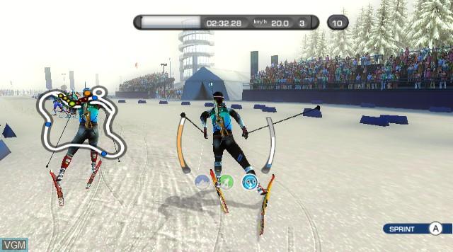 In-game screen of the game RTL Biathlon 2009 on Nintendo Wii