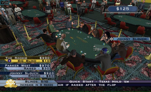 In-game screen of the game World Series of Poker - Tournament of Champions on Nintendo Wii