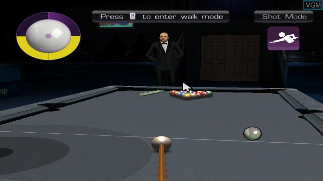 In-game screen of the game WSC Real 08 - World Snooker Championship on Nintendo Wii