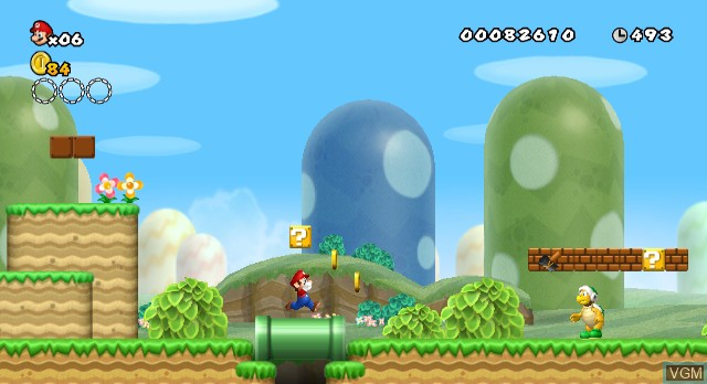In-game screen of the game New Super Mario Bros Wii on Nintendo Wii
