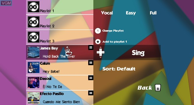 In-game screen of the game 40 Principales Karaoke Party Vol. 2 on Nintendo Wii