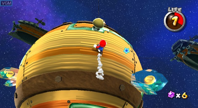 In-game screen of the game Super Mario Galaxy on Nintendo Wii