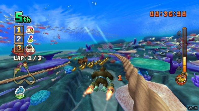 In-game screen of the game Donkey Kong Jet Race on Nintendo Wii