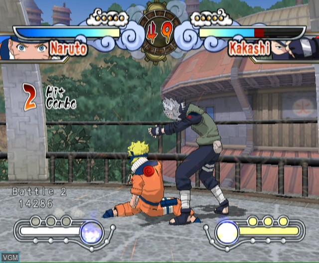 In-game screen of the game Naruto - Clash of Ninja Revolution on Nintendo Wii