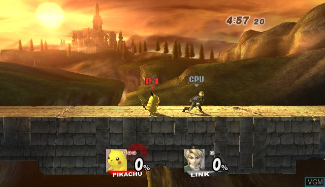 In-game screen of the game Super Smash Bros. Brawl on Nintendo Wii