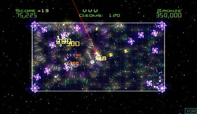 In-game screen of the game Geometry Wars - Galaxies on Nintendo Wii