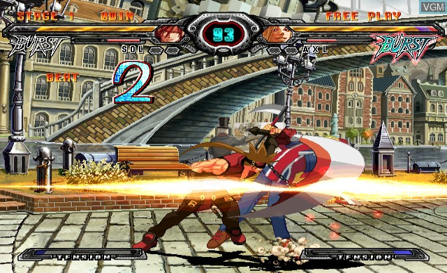 In-game screen of the game Guilty Gear XX Accent Core on Nintendo Wii