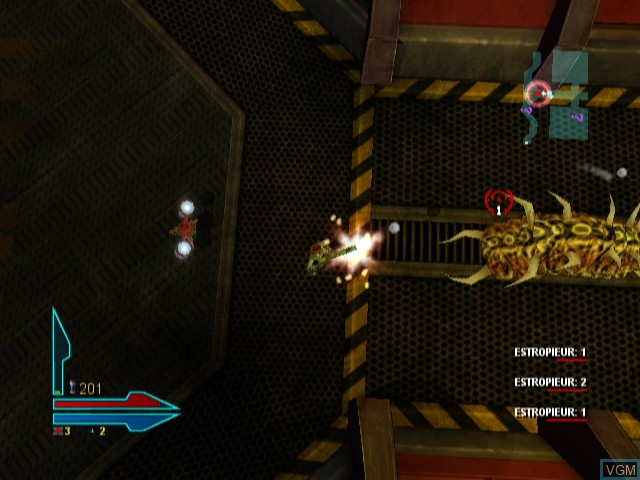 In-game screen of the game Alien Syndrome on Nintendo Wii