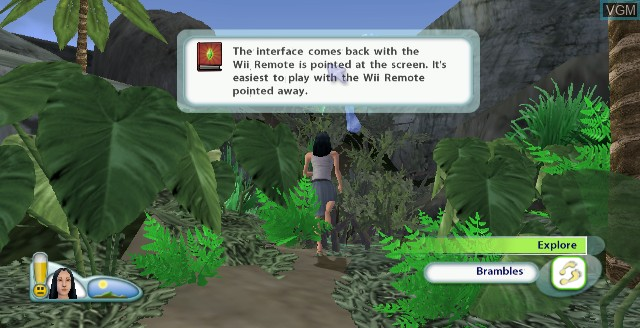 In-game screen of the game Sims 2, The - Castaway on Nintendo Wii