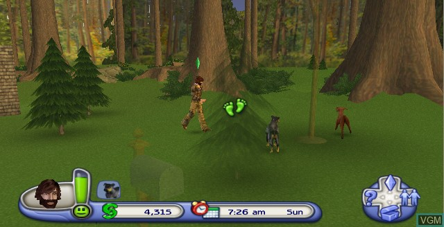 In-game screen of the game Sims 2, The - Pets on Nintendo Wii