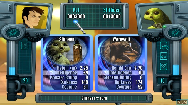 In-game screen of the game Top Trumps - Dr. Who on Nintendo Wii