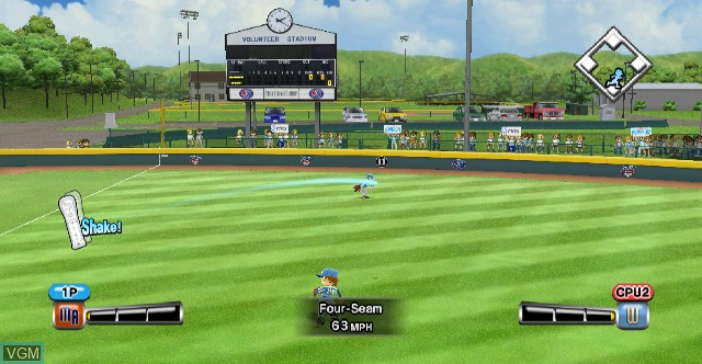 In-game screen of the game Little League World Series Baseball 2008 on Nintendo Wii