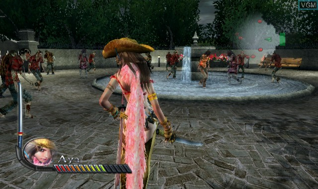 In-game screen of the game Onechanbara - Bikini Zombie Slayers on Nintendo Wii
