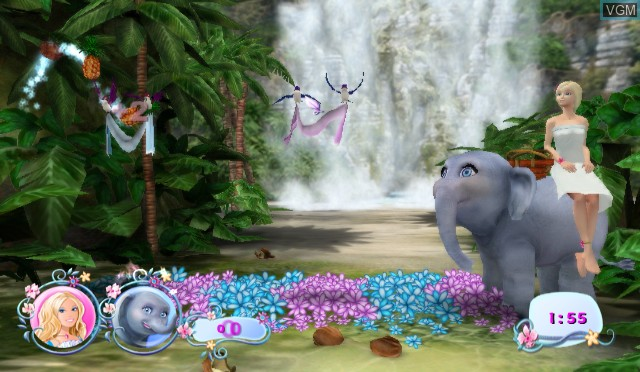 In-game screen of the game Barbie as The Island Princess on Nintendo Wii
