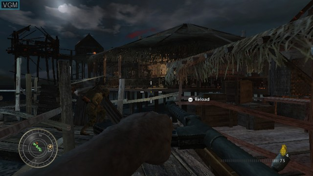 In-game screen of the game Call of Duty - World at War on Nintendo Wii