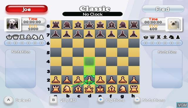 In-game screen of the game Fritz Chess on Nintendo Wii