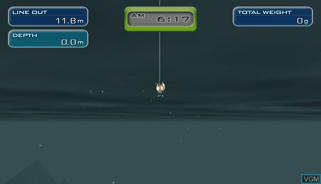 In-game screen of the game Hooked! Real Motion Fishing on Nintendo Wii
