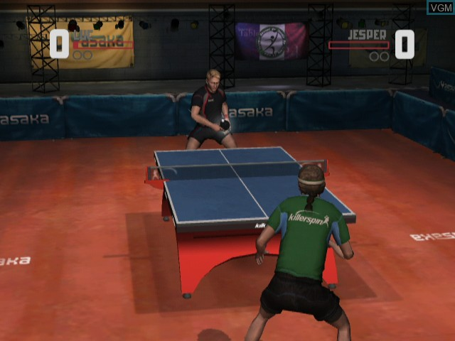 In-game screen of the game Rockstar Games presents Table Tennis on Nintendo Wii