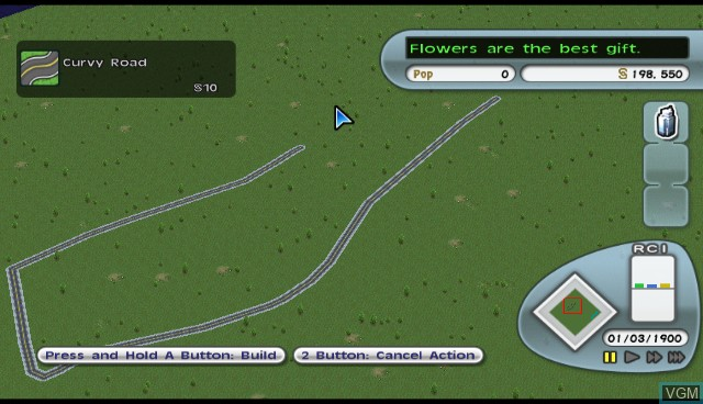 In-game screen of the game Simcity Creator on Nintendo Wii
