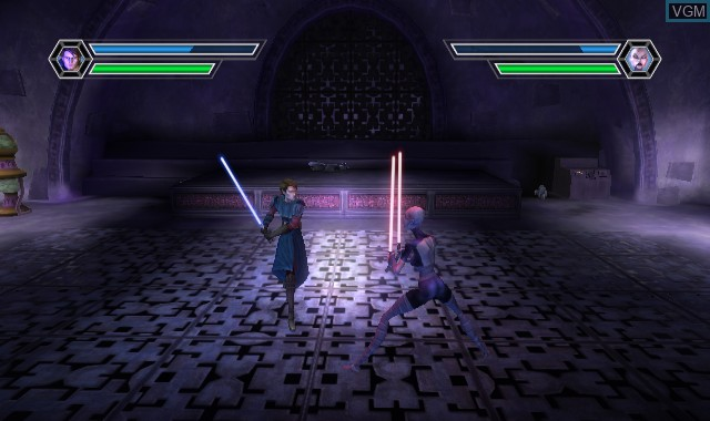 In-game screen of the game Star Wars The Clone Wars - Lightsaber Duels on Nintendo Wii