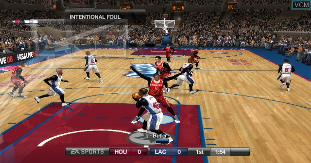 In-game screen of the game NBA Live 08 on Nintendo Wii