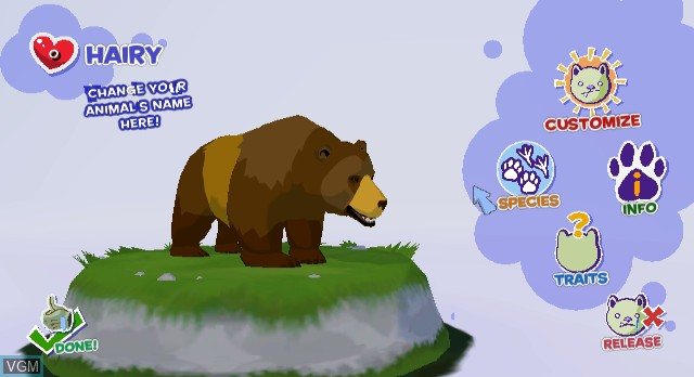 In-game screen of the game World of Zoo on Nintendo Wii